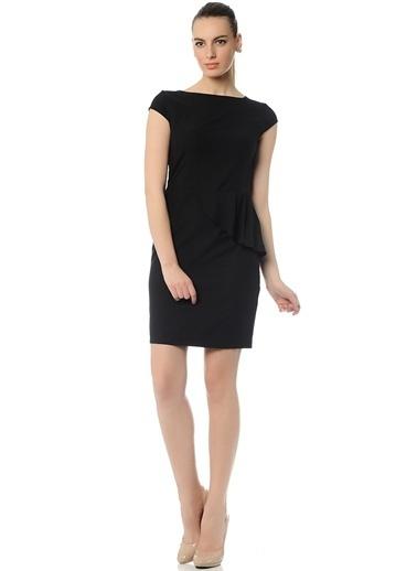 Limon Company Volanlı Kalem Elbise Siyah